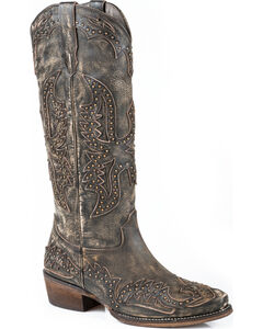 Roper Brown Studded Eagle Cowgirl Boots - Snip Toe , , hi-res