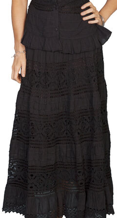 Scully Tiered Crocheted Skirt, Black, hi-res