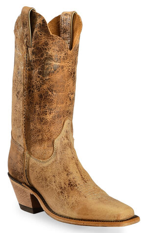 Justin Bent Rail Crackle Cowgirl Boots - Square Toe, Tan Distressed, hi-res