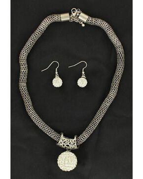 Blazin Roxx Round Rhinestone Charm Necklace & Earrings Set, White, hi-res