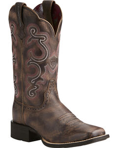Ariat Women's Quickdraw Scroll Stitch Cowgirl Boots - Square Toe, , hi-res