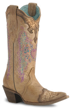 Corral Lace & Heart Embroidery Cowgirl Boots - Pointed Toe, , hi-res