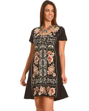 Johnny Was Women's Christine Woven Short Sleeve Panel Dress, Black, hi-res