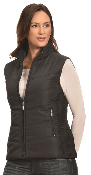 Jane Ashley Women's Black Quilted Princess Vest , Black, hi-res