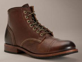 Frye Men's Logan Cap Toe Boots, Dark Brown, hi-res