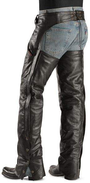 Interstate Leather Snap Out Liner Leather Chaps, Black, hi-res