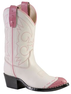 Old West Girls' Pink Ostrich Print Wingtip Cowgirl Boots - Medium Toe, White, hi-res
