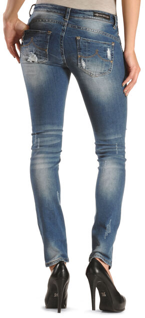 Grace in LA Women's Distressed Destructed Skinny Jeans, Denim, hi-res