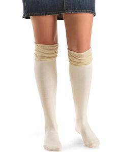 Blazin Roxx Cream with Gold Sparkle Knee-High Socks, , hi-res