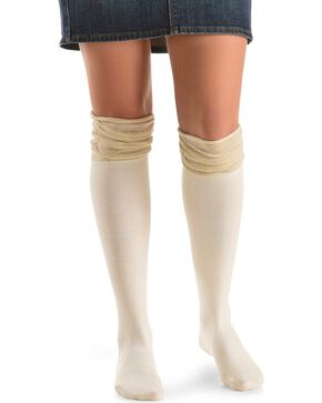 Blazin Roxx Cream with Gold Sparkle Knee-High Socks, Cream, hi-res