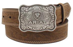 Ariat Boys Floral Embossed Belt, Med Brown, hi-res