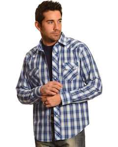 Wrangler Men's Light Blue Plaid Western Jean Shirt, , hi-res