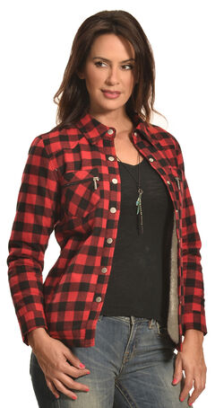 Jane Ashley Women's Red Buffalo Plaid Sherpa Jacket , , hi-res