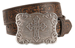 Nocona Embossed Leather Cross Buckle Belt, , hi-res