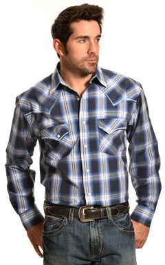 Crazy Cowboy Men's Blue Plaid Stitched Western Snap Shirt , , hi-res