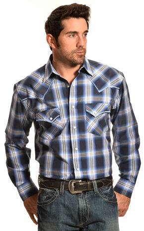 Crazy Cowboy Men's Blue Plaid Stitched Western Snap Shirt , Blue, hi-res