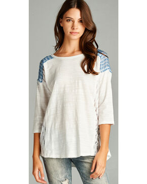 Hyku Women's White Plaid Yoke 3/4 Sleeve Top, White, hi-res