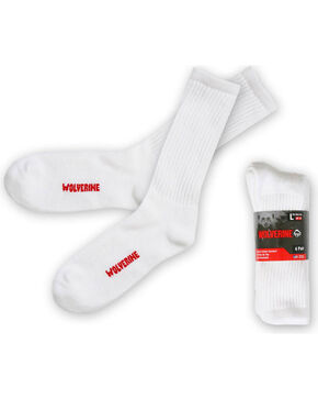 Wolverine Men's White 4 Pack Work Socks , White, hi-res