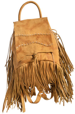 Kobler Leather Khaki Fringed Backpack, , hi-res