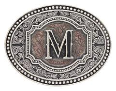 "Montana Silversmiths Men's Initial ""M"" Two-Tone Attitude Belt Buckle, , hi-res"