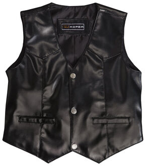 Roper Boys' Faux Black Suede Basic Vest, Black, hi-res