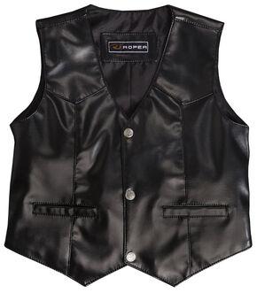 Roper Boys' Faux Black Suede Basic Vest, Black, hi-res