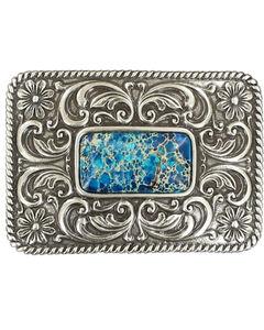 Blazin Roxx Silver Plated Denim Stone Floral Etched Buckle, , hi-res