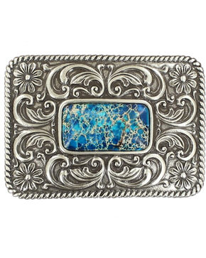 Blazin Roxx Silver Plated Denim Stone Floral Etched Buckle, Silver, hi-res
