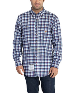 Carhartt Men's Flame Resistant Navy Classic Plaid Shirt, , hi-res