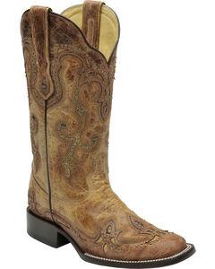 Corral Women's Cognac Antique Saddle Cowgirl Boots - Square Toe, , hi-res