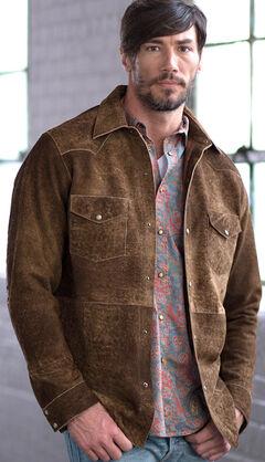 Ryan Michael Men's Painted Leather Shirt Jacket, , hi-res