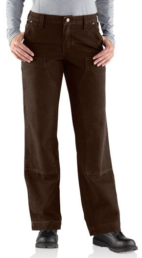 Carhartt Women's Relaxed-Fit Canvas Kane Dungaree Pants, Dark Brown, hi-res