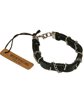 Stetson Chain Wrapped Leather Wristband, Black, hi-res