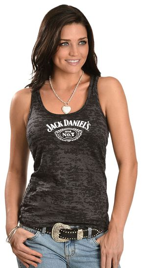 Jack Daniel's Black Burnout Racerback Tank Top, Black, hi-res