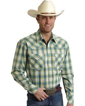Roper Men's Amarillo Collection Green Plaid Snap Long Sleeve Shirt, Blue, hi-res