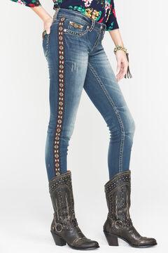 Grace in LA Women's Boho Trim Straight Leg Jeans, , hi-res