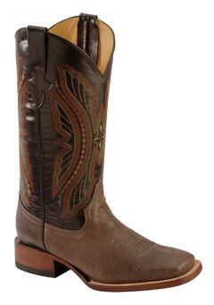 Ferrini Chocolate Distressed Kangaroo Cowboy Boots - Wide Square Toe, , hi-res