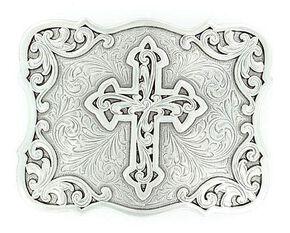 Nocona Filigree Cross Buckle, Silver, hi-res