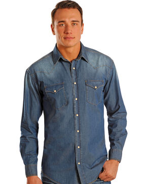 Rough Stock by Panhandle Slim Bodega Chambray Shirt, Denim, hi-res