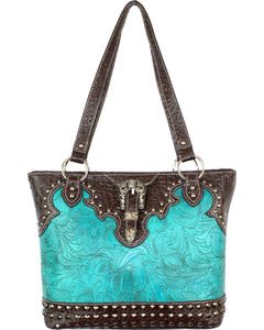 Savana Turquoise Floral Tooled Conceal Carry Purse, , hi-res
