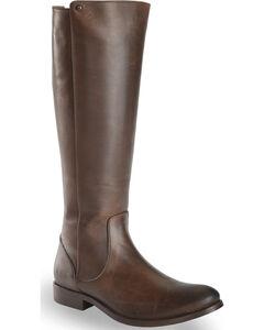 Frye Women's Chocolate Melissa Stud Back Zip Boots - Round Toe , , hi-res