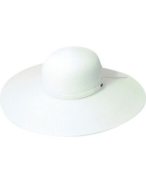 Scala Women's White Big Brim Paper Sun Hat, White, hi-res