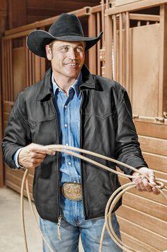STS Ranchwear Men's Vegas Black Leather Jacket, , hi-res