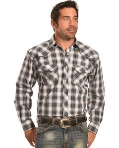 Crazy Cowboy Men's Stitched Black Plaid Western Snap Shirt  , , hi-res