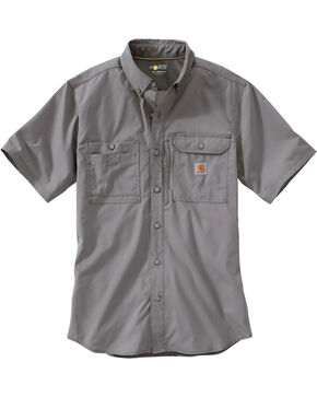 Carhartt Men's Force Ridgefield Short Sleeve Solid Shirt, Grey, hi-res