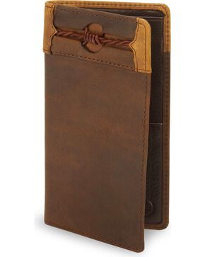 Silvercreek Fenced In Leather Checkbook Cover, Aged Bark, hi-res