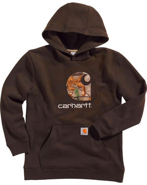 Carhartt Boys' Camo Pullover Sweatshirt, Dark Brown, hi-res
