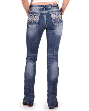 Grace in LA Women's Easy Fit Aztec Sequin Pocket Jeans - Boot Cut , Blue, hi-res