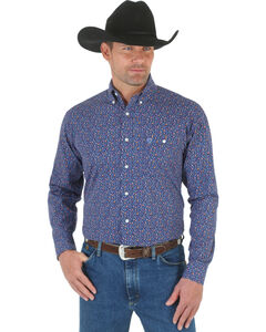 Wrangler George Strait Navy Floral Print Western Shirt , , hi-res