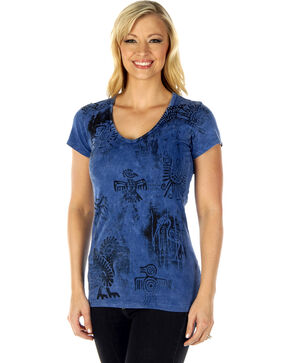 Liberty Wear Women's Denim Southwest Short Sleeve Tee, Blue, hi-res